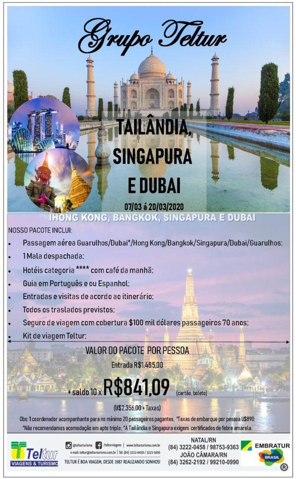 tailandia, singapura e dubai